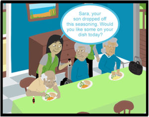 Cartoon of elderly individuals talking with woman