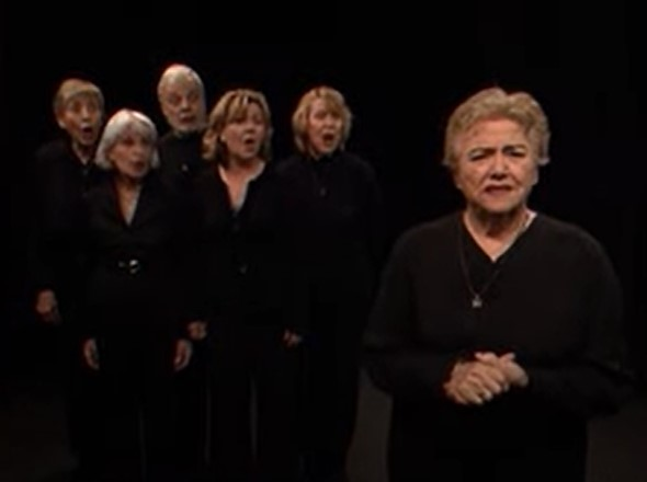 Group of actors performs I'm still here