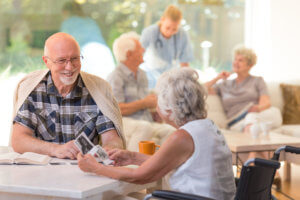 Older adults socializing outdoors