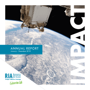 "Cover of RIA Annual Report January - December 2018 ""Impact"" photo of space station above earth and RIA logo"