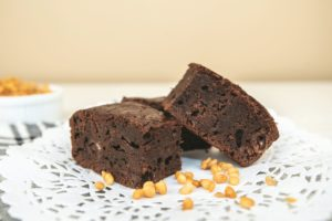 A few pieces of brownies with lentils in them zoomed out