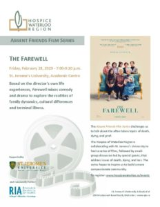 A Hospice Waterloo Region poster for The Farewell, an Absent Friends Film Series