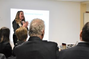 Professor Kate Dupuis giving a presentation at a Lunch and Learn