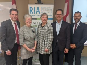 Left to right:  Tim Louis, MP Kitchener-Conestoga, Josie d'Avernas, Executive Director RIA; Minister Schulte; James Schlegel, CEO Schlegel Health Care; Marwan Tabbara, MP Kitchener South-Hespler at SIIP Launch Event