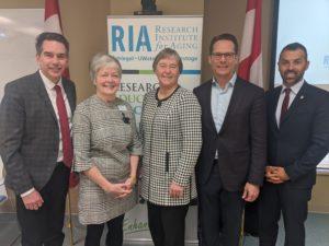 Left to right: Tim Louis, MP Kitchener-Conestoga, Josie d'Avernas, Executive Director RIA; Minister Schulte; James Schlegel, CEO Schlegel Health Care; Marwan Tabbara, MP Kitchener South-Hespler at SIIP Launch Event