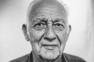 black and white photo of an older man