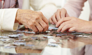 two sets of hands, one older and one younger, work on a puzzle