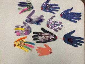 Art work of paper fish made by residents