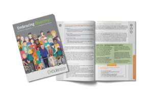 Embracing Diversity: A Toolkit for Supporting Inclusion in Long-Term Care tookit cover and example pages